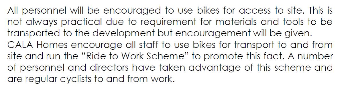 Amlets Lane Cala Homes Cycle policy