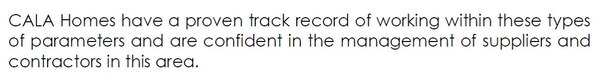 Cala Homes Track record
